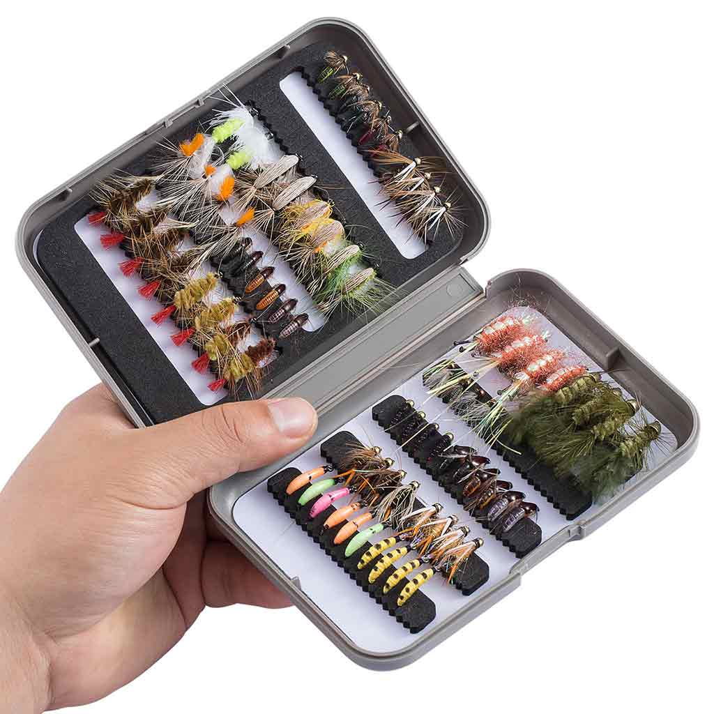 Bassdash 76 Pcs Fly Fishing Trout Flies Kit with Fly Box