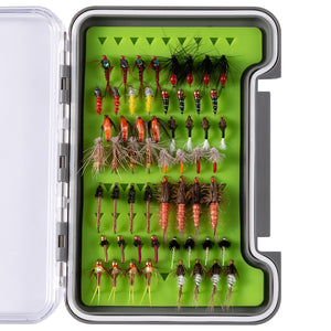 Bassdash Trout Steelhead Salmon Fishing Flies Assortment 56 pcs, Fly Lure Kit with Fly Box