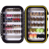 Bassdash 32/60/62 Pcs Fly Fishing Barbed or Barbless Trout Grayling Flies With Waterproof Fly Box