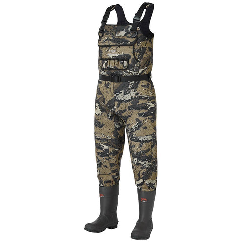 Bassdash Bare Camo Neoprene Chest Fishing Hunting Waders With 600 Grams Insulated Rubber Boot Foot
