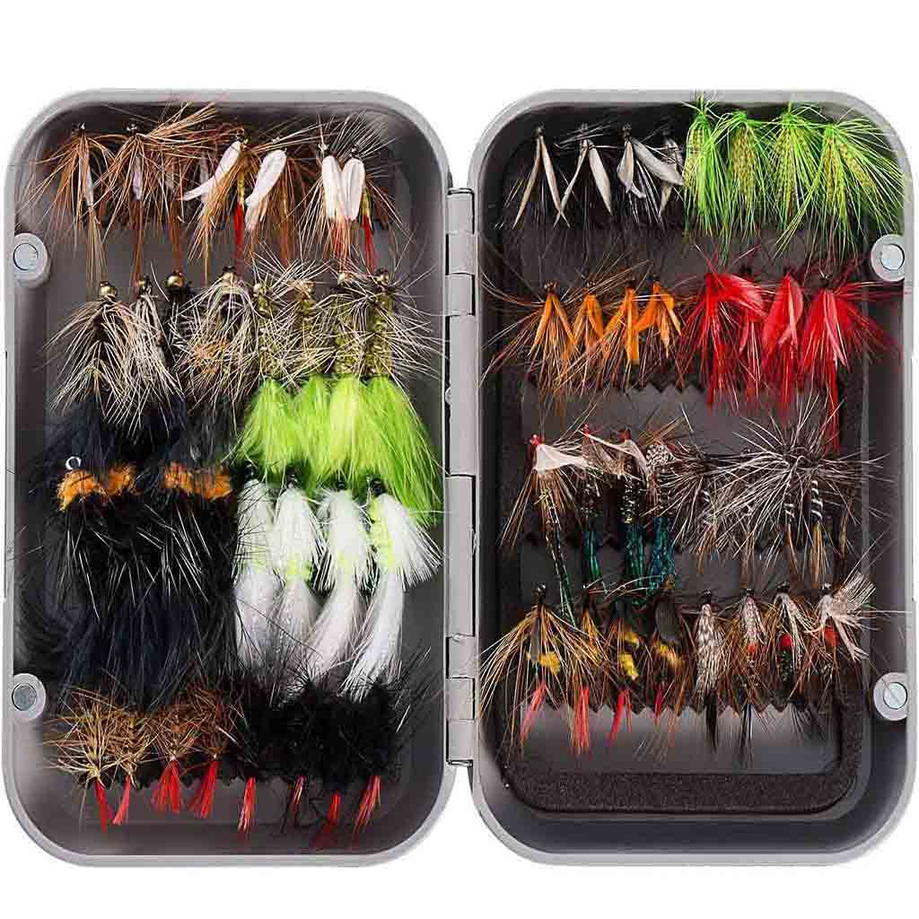 Bassdash 64 Pcs Fly Fishing Assorted Flies Kit with Magnetic Fly Box