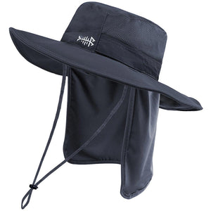 Bassdash Sun Protection Wide Brim Fishing Bucket Hat with Detachable Neck Flap