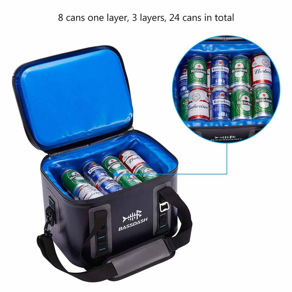 Bassdash Waterproof Insulated Soft Cooler Bag 15/24/30 Cans for Fishing, Camping, Picnics