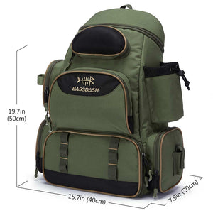 Bassdash Durable Fishing Tackle Backpack [3600] Tackle Bag Without Trays