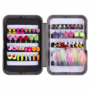 Bassdash 57 Pcs Fly Fishing Trout Fly Lure Kit With Box