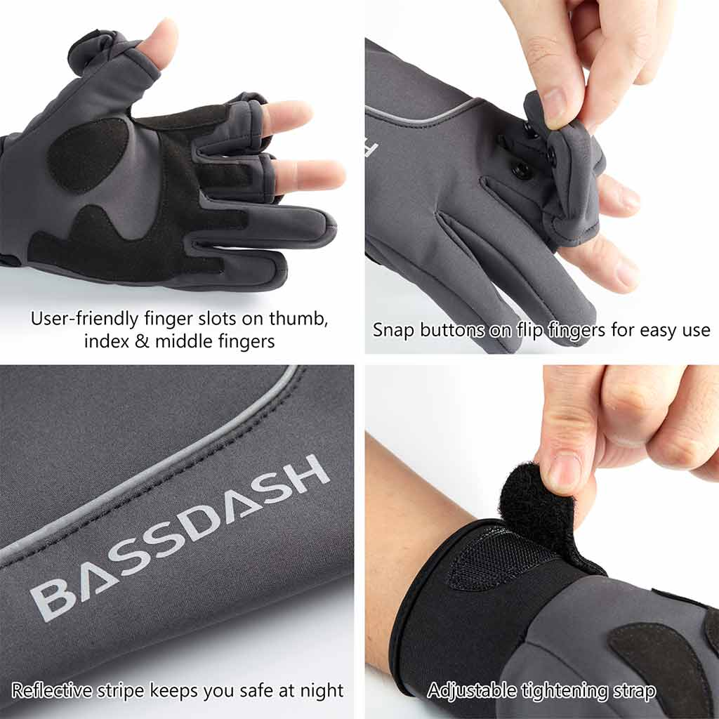 Bassdash WintePro Insulated Waterproof Winter Fishing Hunting Gloves With Fleece Lining