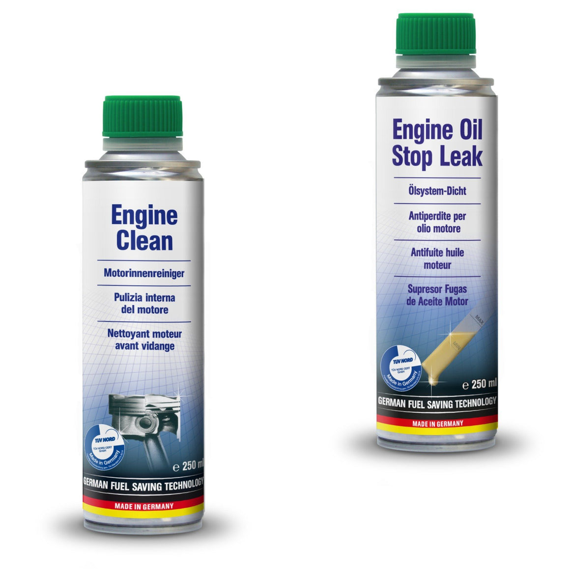 AUTOPROFI  Engine Clean - 250ml & ENGINE OIL STOP LEAK - 250ML - KIT - Just European
