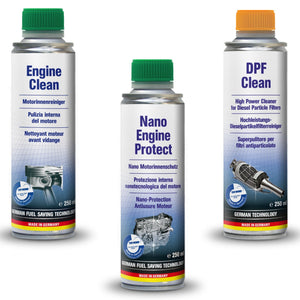 AUTOPROFI  Engine Clean 250ml & Nano Engine Protect 250ml & Diesel  DPF Clean - 250ml - KIT - Just European