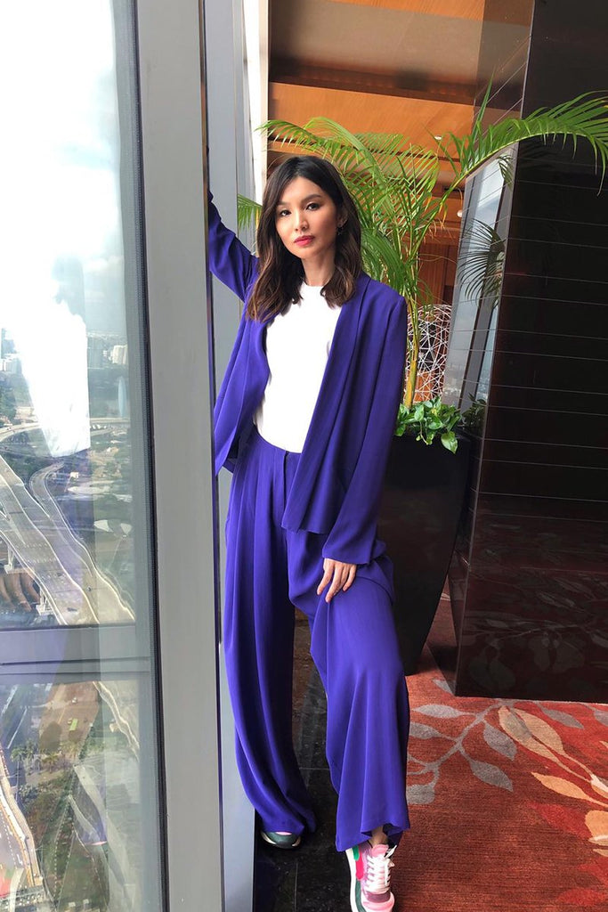 Gemma Chan wears Galvan for Captain Marvel press tour