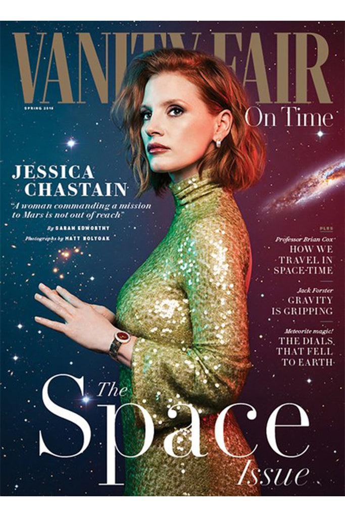 Jessica Chastain wears Galvan for the cover of Vanity Fair London Spring 2019 issue
