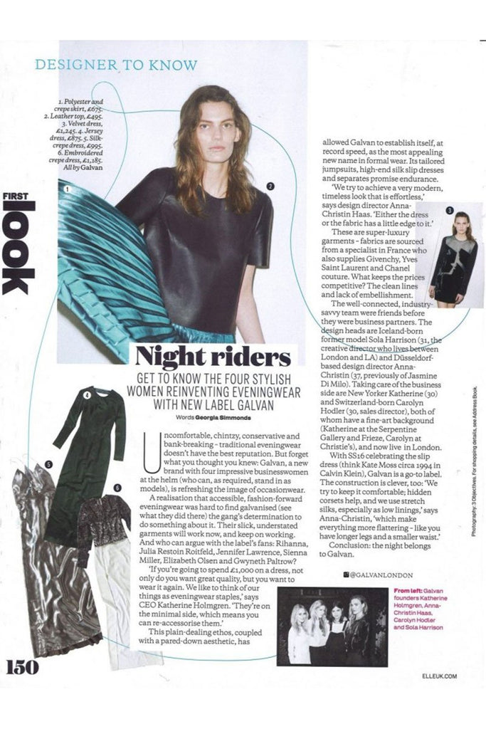 'Night Riders: Get To Know The Four Stylish Women Reinventing Eveningwear With New Label Galvan' by Elle (UK)