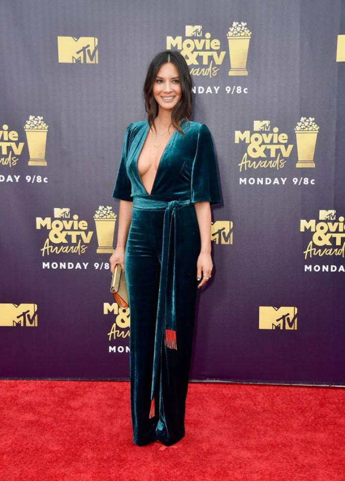 Olivia Munn wore Galvan to the MTV film awards