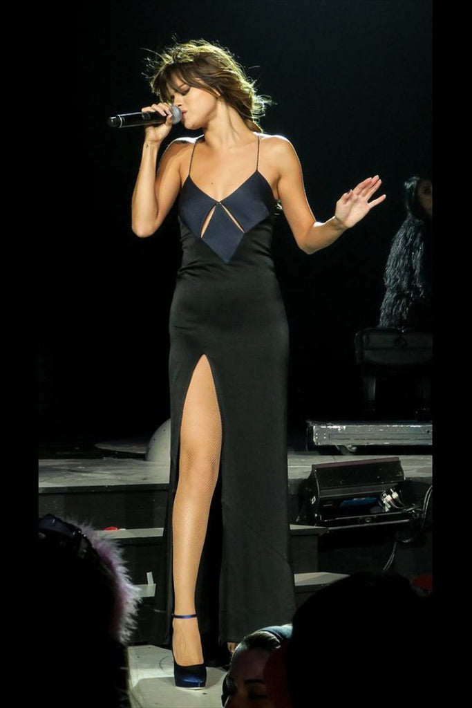Selena Gomez performing in Galvan on her Revival Tour