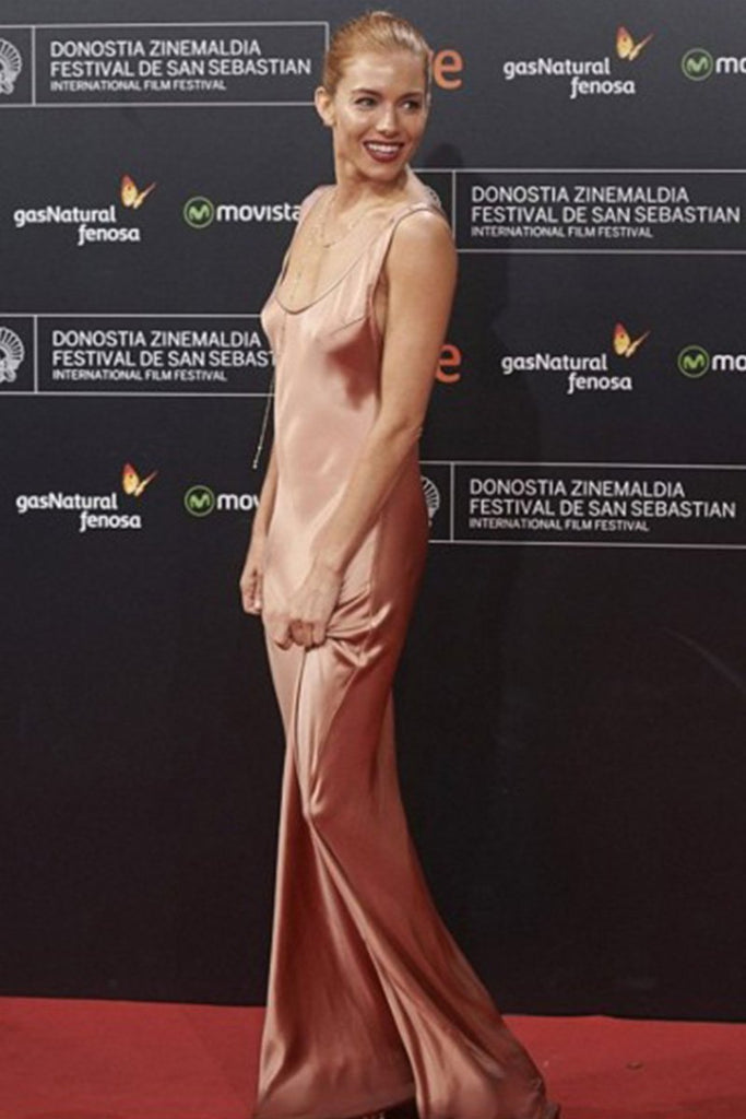 Sienna Miller wears a Galvan slip dress at the San Sebastian Film Festival