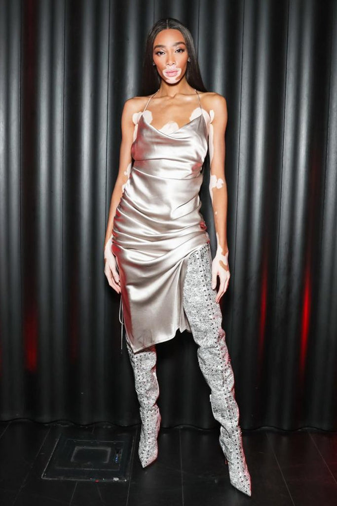 Winnie Harlow wears Galvan to NYFW party