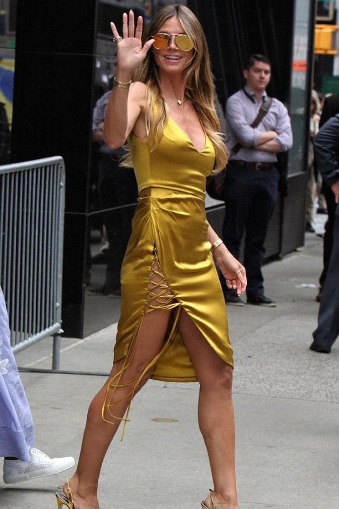 Heidi Klum wears Galvan for Good Morning America appearance