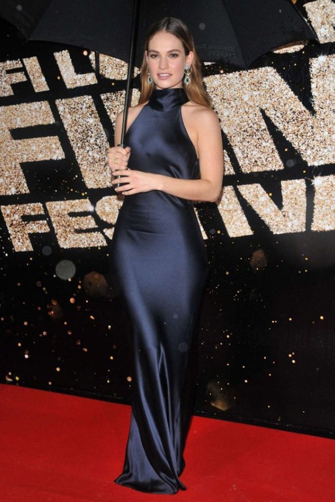 Lily James wears Galvan to the BFI London Film Festival