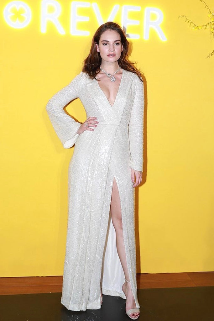 Lily James wears Galvan in Shanghai