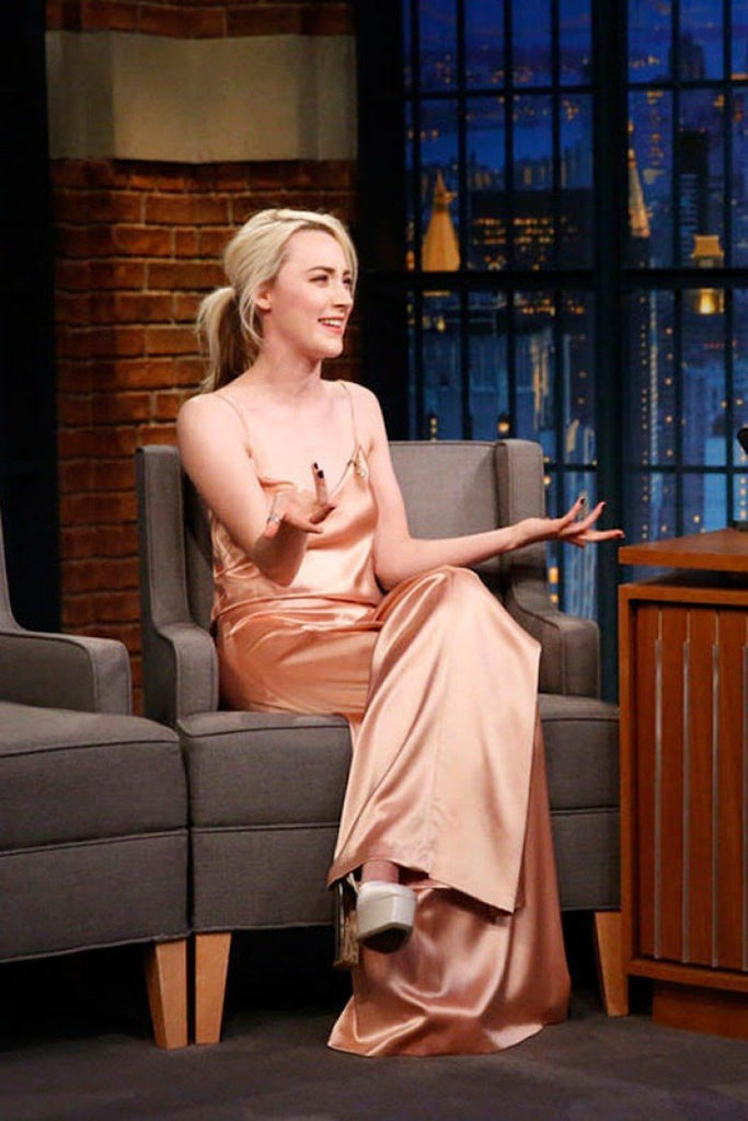 Saoirse Ronan wears Galvan for appearance on Late Night with Seth Meyers