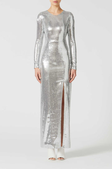 Adela Backless Dress - Silver