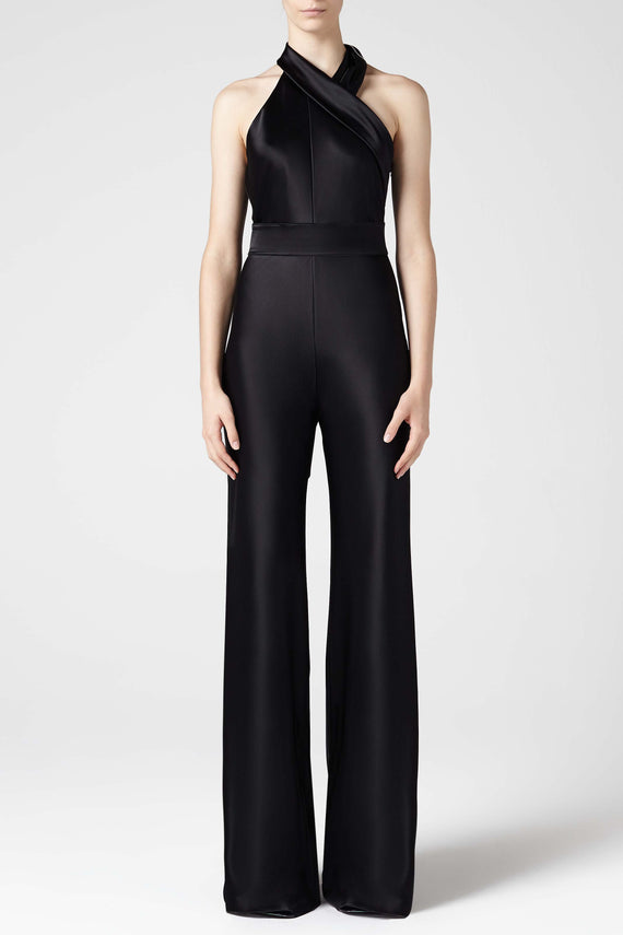 Asymmetric Sash Neck Jumpsuit - Black
