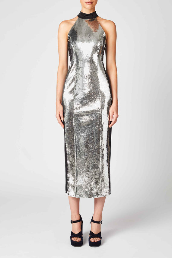 Chrome Panel Dress - Silver & Black