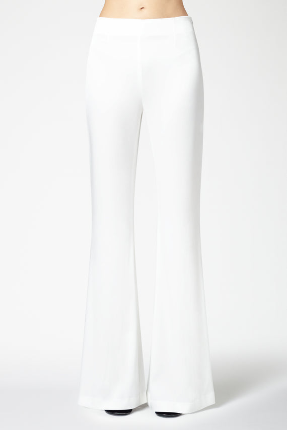 High Waisted Satin Trousers - White