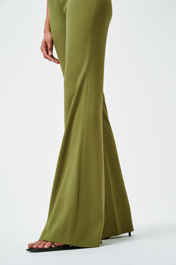 Matte High Waisted Trousers - Olive
