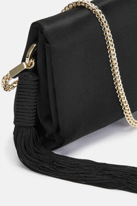 Mini Satin Tassel Bag - Black