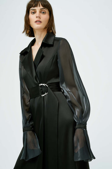 Organza Trench Dress - Black