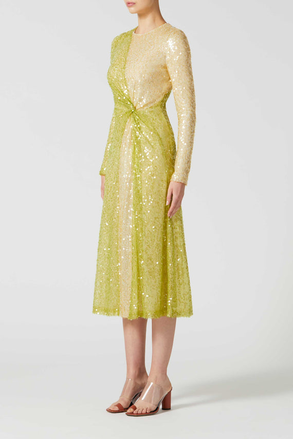 Paillette Pinwheel Dress - Lime & Pale Yellow