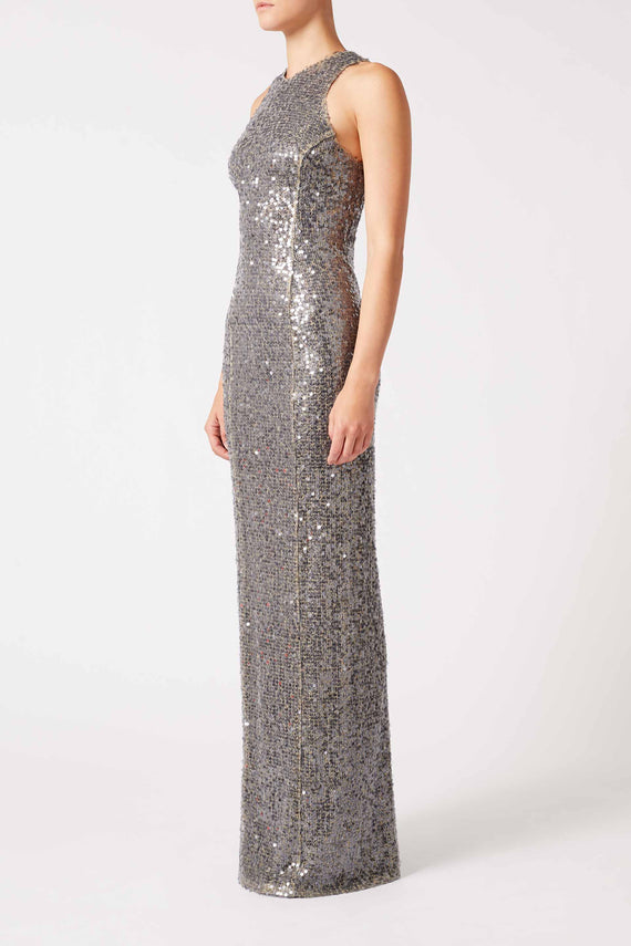 Paillette Column Dress - Gunmetal