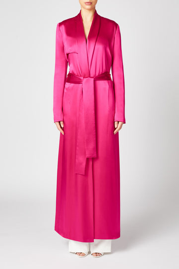Silk Trench Coat - Fuchsia