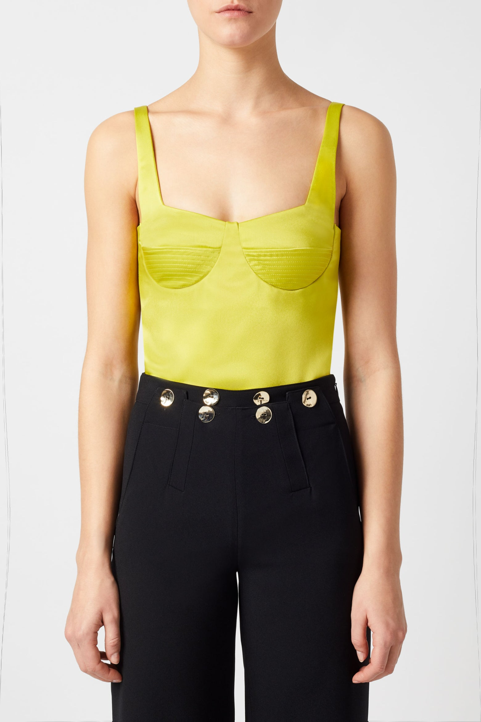 Satin Bustier - Lime