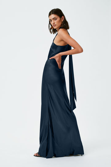 Satin Pandora Dress - Midnight