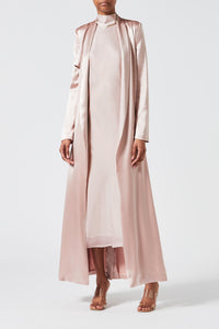 Satin Trench Coat - Rose Nude