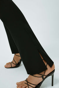Slashed Crepe Trousers - Black