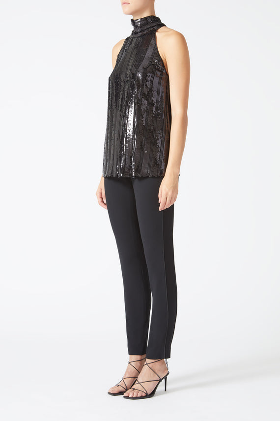 Stardust Sash Neck Top - Black