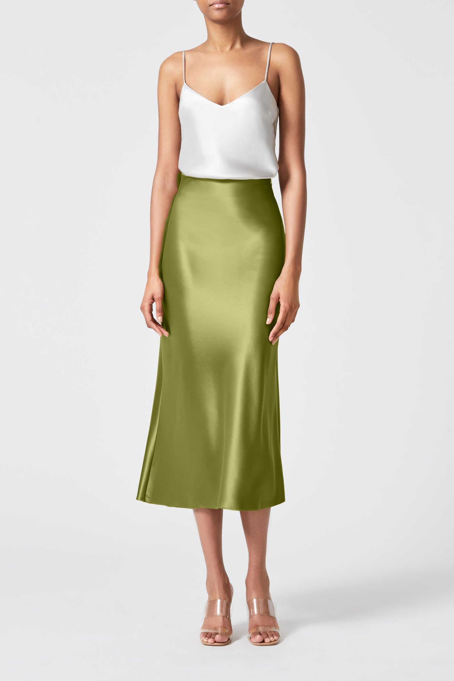 Satin Valletta Skirt - Safari Green