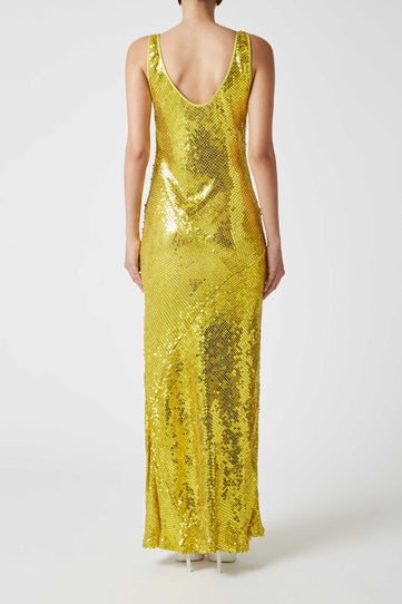Paillette Valletta Dress - Yellow