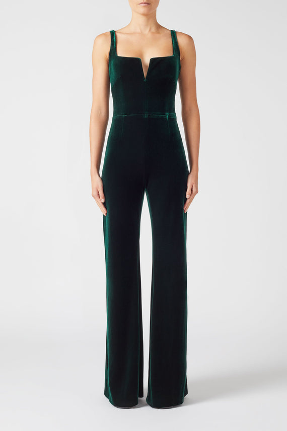 Velvet Eclipse Jumpsuit - Dark Hunter Green