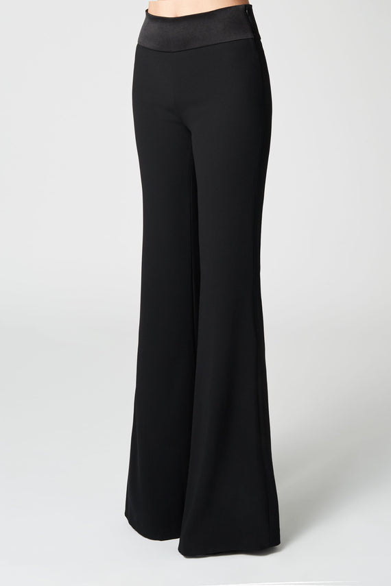 Wide Leg Crepe Trousers - Black