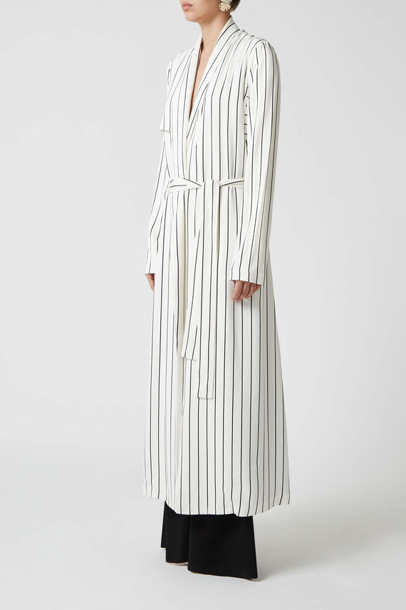 Pinstriped Coat - White & Black