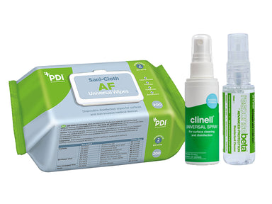 PDI Sani-Cloth AF Universal Wipes, Clinell Universal 60ml Spray, Responsebeta Disinfectant 50ml Spray