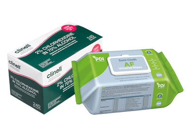 PDI Sani-Cloth AF Universal Wipes, Clinell 2% Chlorhexidine 70% Alcohol Equipment Wipes