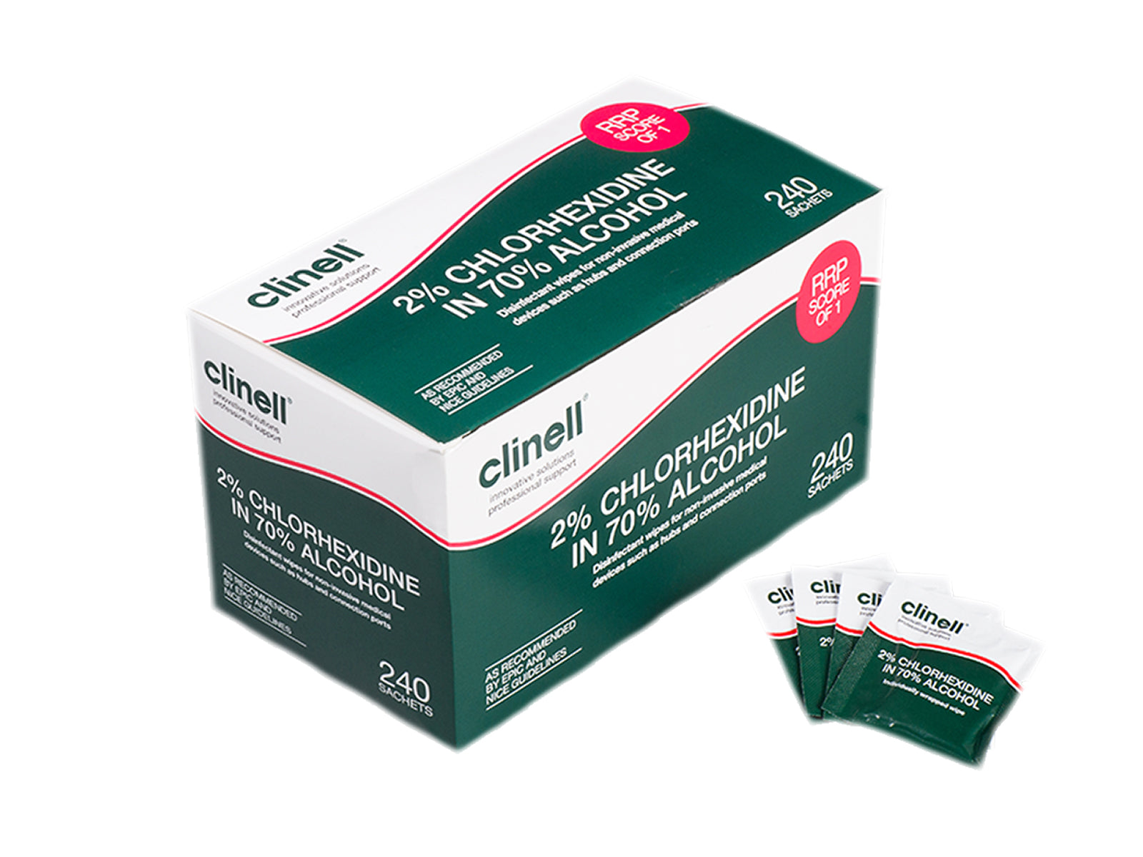 Clinell 2% Chlorhexidine in 70% Alcohol Equipment Wipes (240)