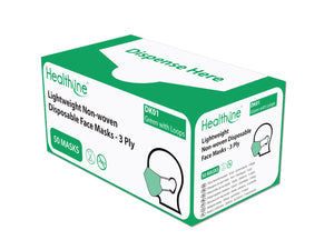 Healthline 3ply Non Woven Green Face Mask with Ear Loops (50)