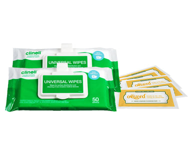 Clinell Universal Wipes with Clip, Oqard Hand & Surface Cleansing Wipe Sachets
