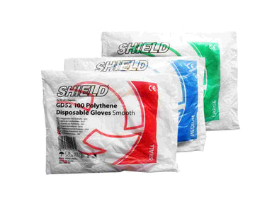 Shield Polythene Disposable Gloves Smooth (100)