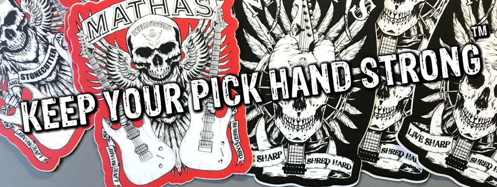 Mathas Guitars - Guitar Picks - Impaler - Jazztor - Pickaxe - X-Cavator - Jazz-X - Jazz Maxx - Jazz Jr - Keep Your Pick Hand Strong - Live Sharp Shred Hard